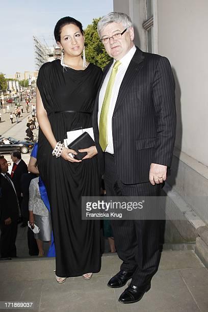 Joschka Fischer and wife Minu BaratiFischer at the notion of Eugene Onegin at the Opera for All Unter Den Linden in Berlin
