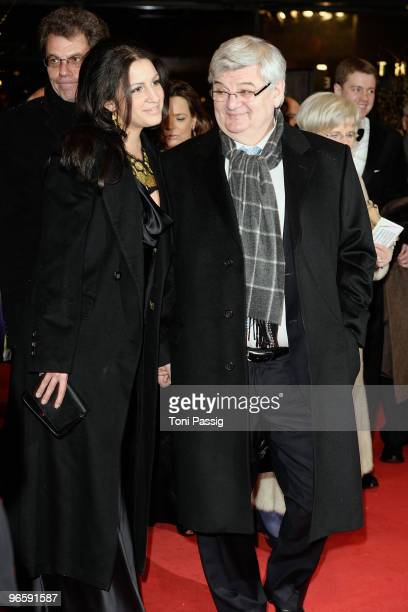 Joschka Fischer and wife Minu Barati-Fischer attend the 'Tuan Yuan' Premiere during day one of the 60th Berlin International Film Festival at the...