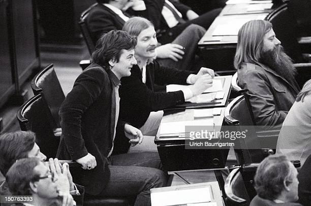 Joschka FISCHER, Hubert KLEINERT, Gert JANNSEN at the Federal German Parliament.
