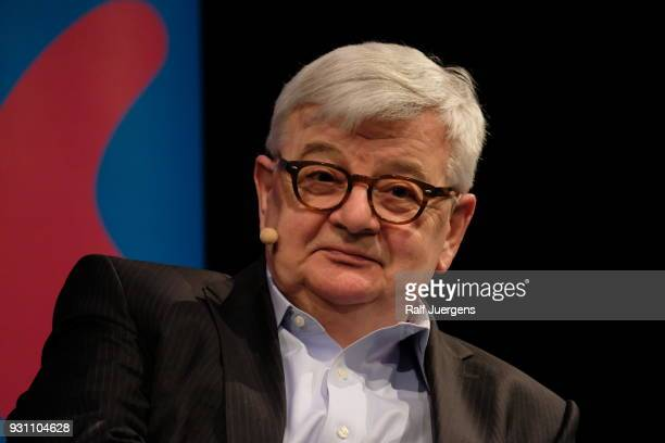 "Joschka Fischer presents his new book ""Der Abstieg des Westens"" at the lit.cologne on March 12, 2018 in Cologne, Germany."