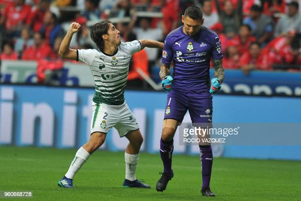 Jose Abella and Jonathan Orozco of Santos celebrate their goal against Toluca during their Mexican Clausura 2018 tournament football semi final match...