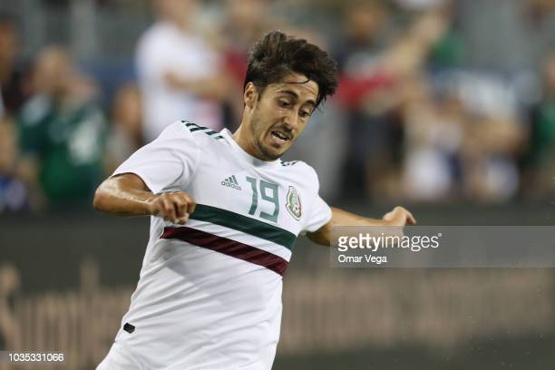 Jose Abella of Mexico gestures during an international friendly match between Mexico and United States at Nissan Stadium on September 11 2018 in...
