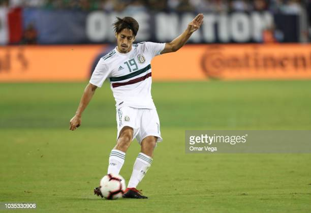 Jose Abella of Mexico kicks the ball during an international friendly match between Mexico and United States at Nissan Stadium on September 11 2018...