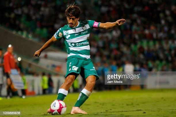 Jose Abella of Santos controls the ball during a 14th round match between Santos Laguna and Monterrey as part of Torneo Apertura 2018 Liga MX at...