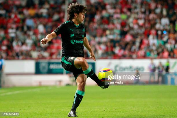 Jose Abella of Santos controls the ball during the 10th round match between Necaxa and Santos Laguna as part of the Torneo Clausura 2018 Liga MX at...
