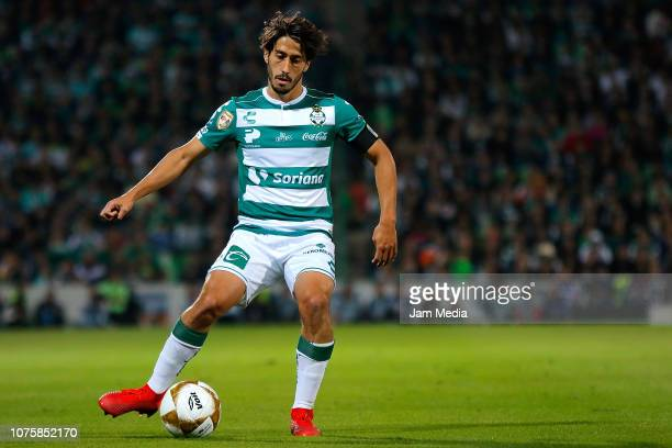 Jose Abella of Santos drives the ball during the quarter finals second leg match between Santos Laguna and Monterrey as part of the Torneo Apertura...