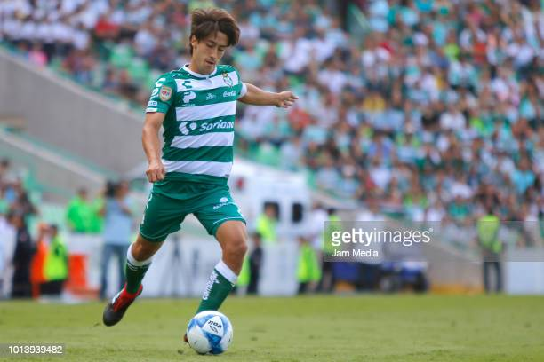 Jose Abella of Santos drives the ball during the third round match between Santos Laguna and Puebla as part of the Torneo Apertura 2018 at Corona...