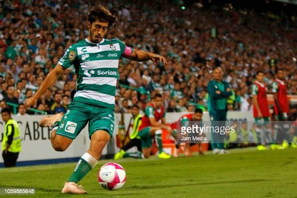 Jose Abella of Santos kicks the ball during a 14th round match between Santos Laguna and Monterrey as part of Torneo Apertura 2018 Liga MX at Corona...