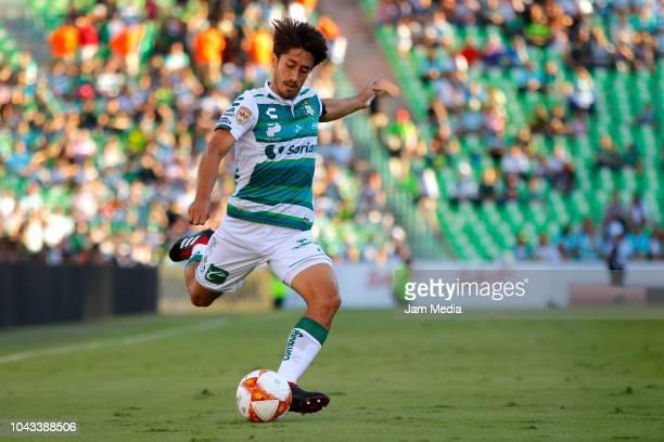 Jose Abella of Santos kicks the ball during the 10th round match between Santos Laguna and Veracruz as part of the Torneo Apertura 2018 Liga MX at...