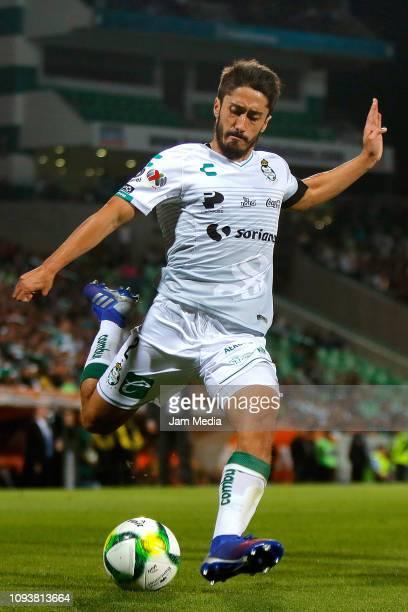Jose Abella of Santos kicks the ball during the 2nd round match between Santos Laguna and Morelia as part of the Torneo Clausura 2019 Liga MX at...