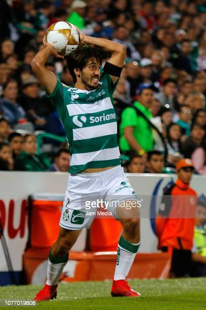Jose Abella of Santos throws the ball during the quarter finals second leg match between Santos Laguna and Monterrey as part of the Torneo Apertura...