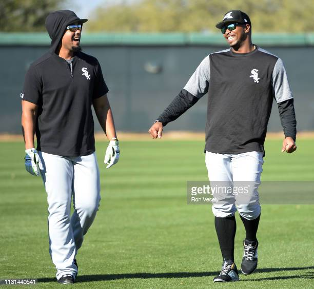 Jose Abreu and Eloy Jimenez of the Chicago White Sox look on during spring training workouts on February 19 2019 at Camelback Ranch in Glendale...