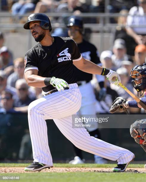 Jose Abreu of the Chicago White Sox bats against the San Diego Padres on March 4 2018 at Camelback Ranch in Glendale Arizona
