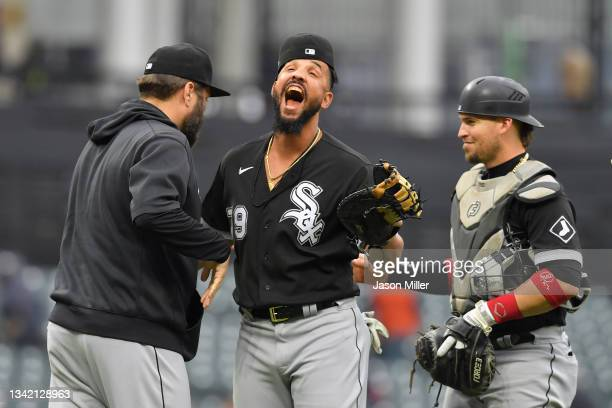 Jose Abreu of the Chicago White Sox celebrates after the Chicago White Sox defeated the Cleveland Indians in game one of a double header at...