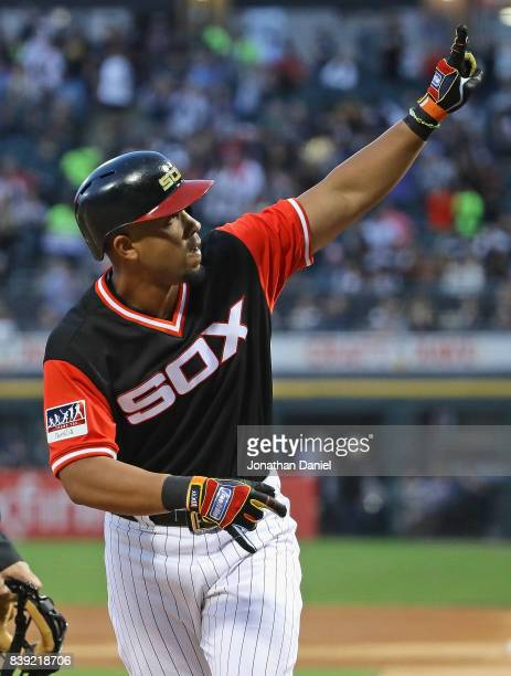 Jose Abreu of the Chicago White Sox celebrates his solo home run in the 1st inning against the Detroit Tigers at Guaranteed Rate Field on August 25...