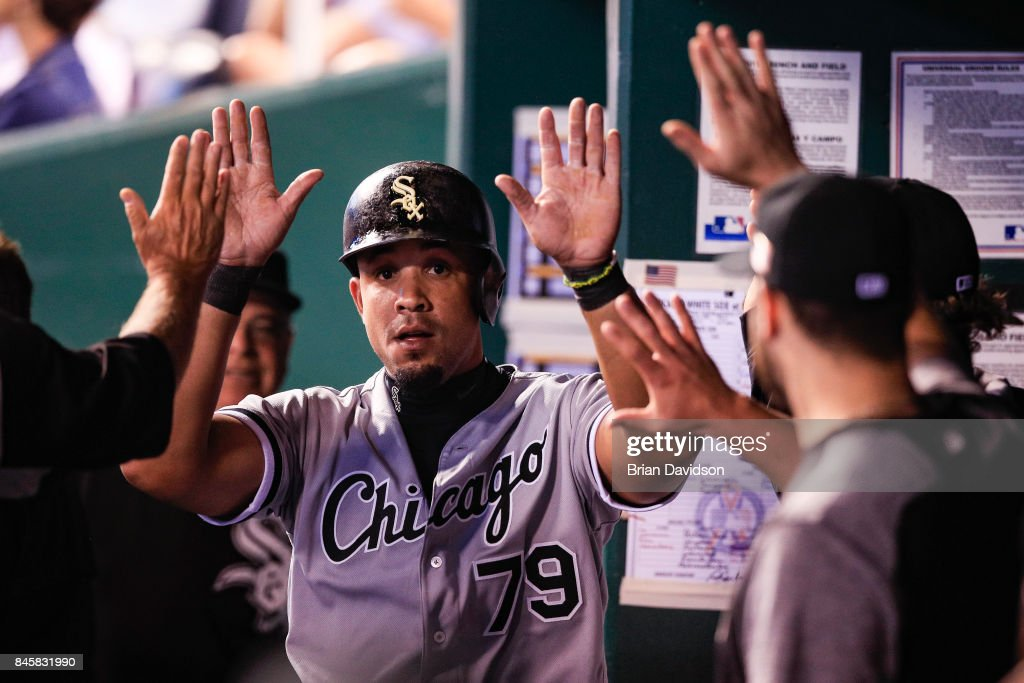 Jose Abreu #79 of the Chicago White Sox celebrates scoring against a Kansas City Royals throwing error during the sixth inning at Kauffman Stadium on September 11, 2017 in Kansas City, Missouri.