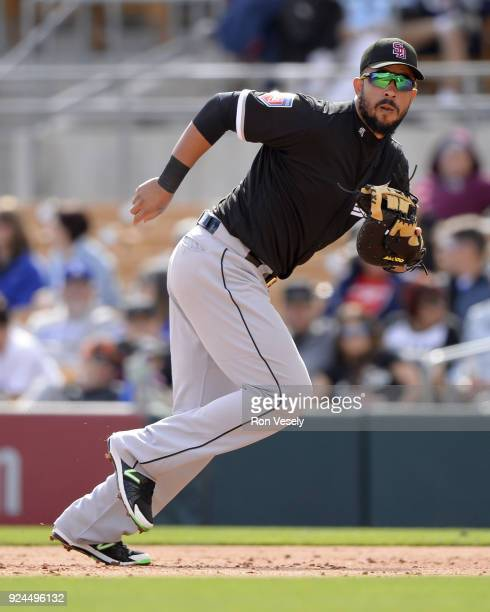 Jose Abreu of the Chicago White Sox fields against the Los Angeles Dodgers on February 23 2018 at Camelback Ranch in Glendale Arizona