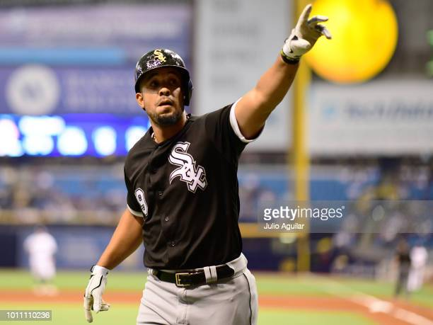 Jose Abreu of the Chicago White Sox hits a homer in the fourth inning against the Tampa Bay Rays on August 4 2018 at Tropicana Field in St Petersburg...