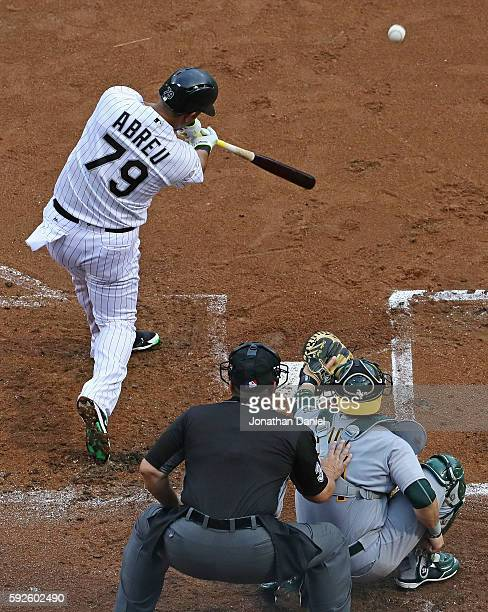 Jose Abreu of the Chicago White Sox hits a solo home run in the 1st inning against the Oakland Athletics at US Cellular Field on August 20 2016 in...
