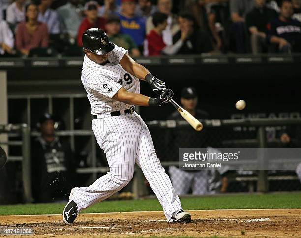 Jose Abreu of the Chicago White Sox hits a solo home run the second of backtoback home runs in the 6th inning against the Cleveland Indians at US...