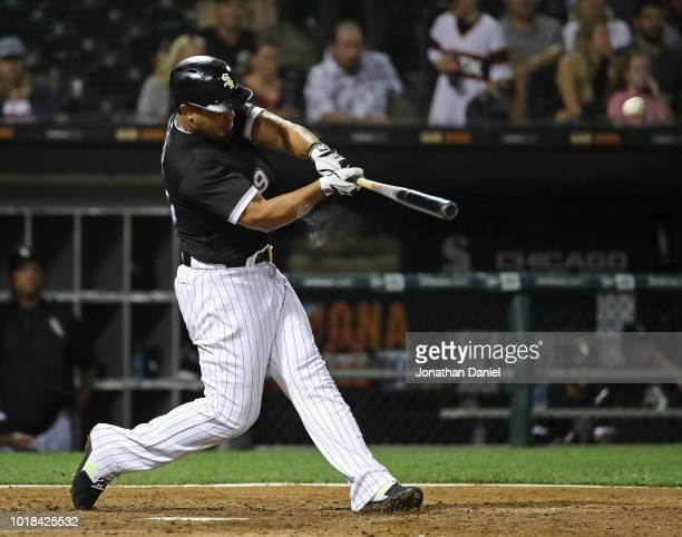 Jose Abreu of the Chicago White Sox hits a three run home runin the 7th inning against the Kansas City Royals at Guaranteed Rate Field on August 17...
