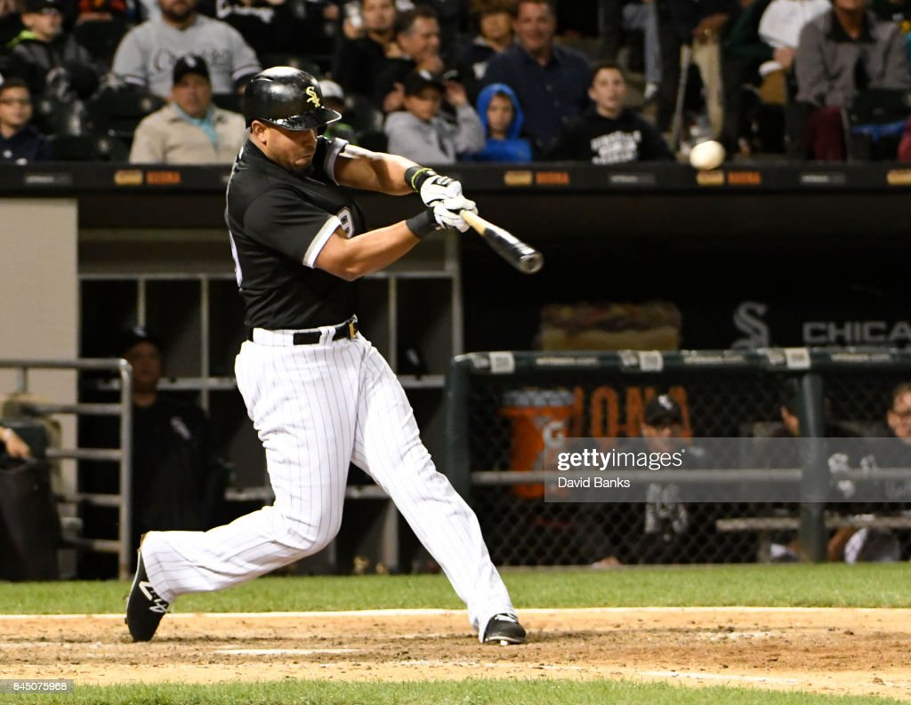 Jose Abreu #79 of the Chicago White Sox hits a triple against the San Francisco Giants during the eighth inningon September 9, 2017 at Guaranteed Rate Field in Chicago, Illinois. Abreu's triple completed the cycle.