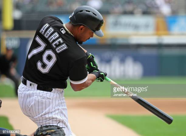 Jose Abreu of the Chicago White Sox hits a two run home run in the 1st inning against the Cleveland Indians at Guaranteed Rate Field on June 14 2018...