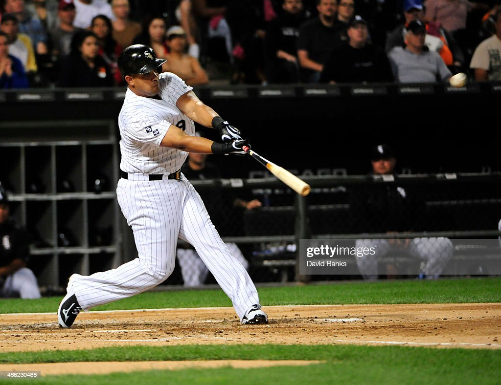 Jose Abreu #79 of the Chicago White Sox hits a two-run home run against the Oakland Athletics during the third inning on September 14, 2015 at U.S. Cellular Field in Chicago, Illinois.