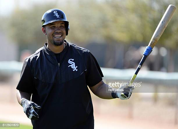 Jose Abreu of the Chicago White Sox looks on during spring training workouts on February 25 2015 at Camelback Ranch in Glendale Arizona