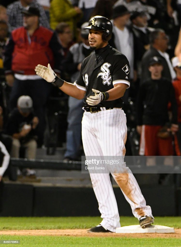 Jose Abreu #79 of the Chicago White Sox reacts after hitting a triple against the San Francisco Giants during the eighth inning on September 9, 2017 at Guaranteed Rate Field in Chicago, Illinois. Abreu's triple completed the cycle.