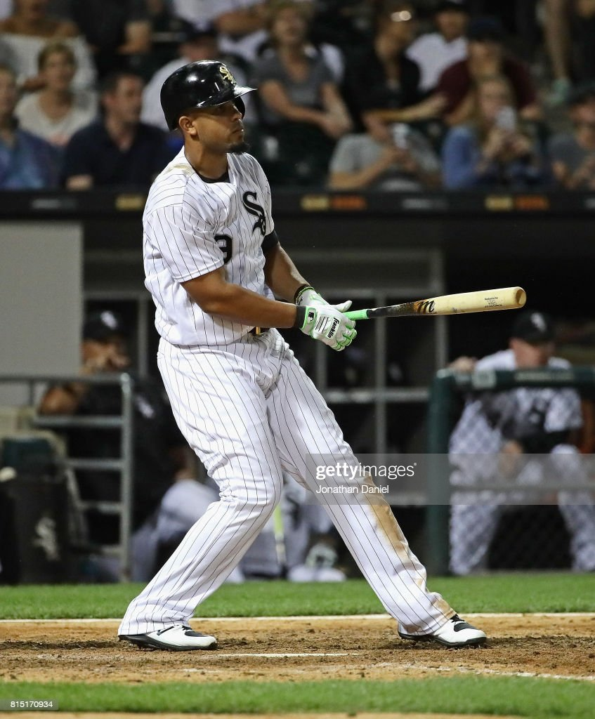 Jose Abreu #79 of the Chicago White Sox reacts after striking out swinging with men on base to end the game against the Seattle Mariners at Guaranteed Rate Field on July 15, 2017 in Chicago, Illinois. The Mariners defeated the White Sox 4-3.