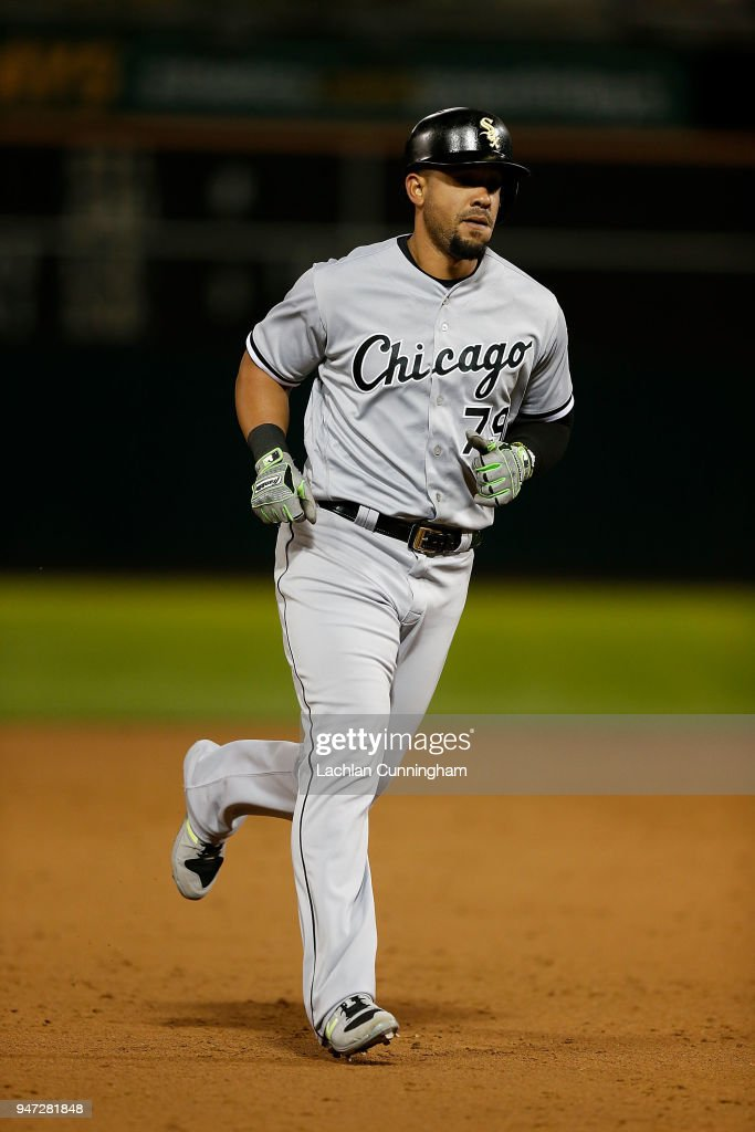Jose Abreu #79 of the Chicago White Sox rounds the bases after hitting a solo home run in the ninth inning against the Oakland Athletics at Oakland Alameda Coliseum on April 16, 2018 in Oakland, California.
