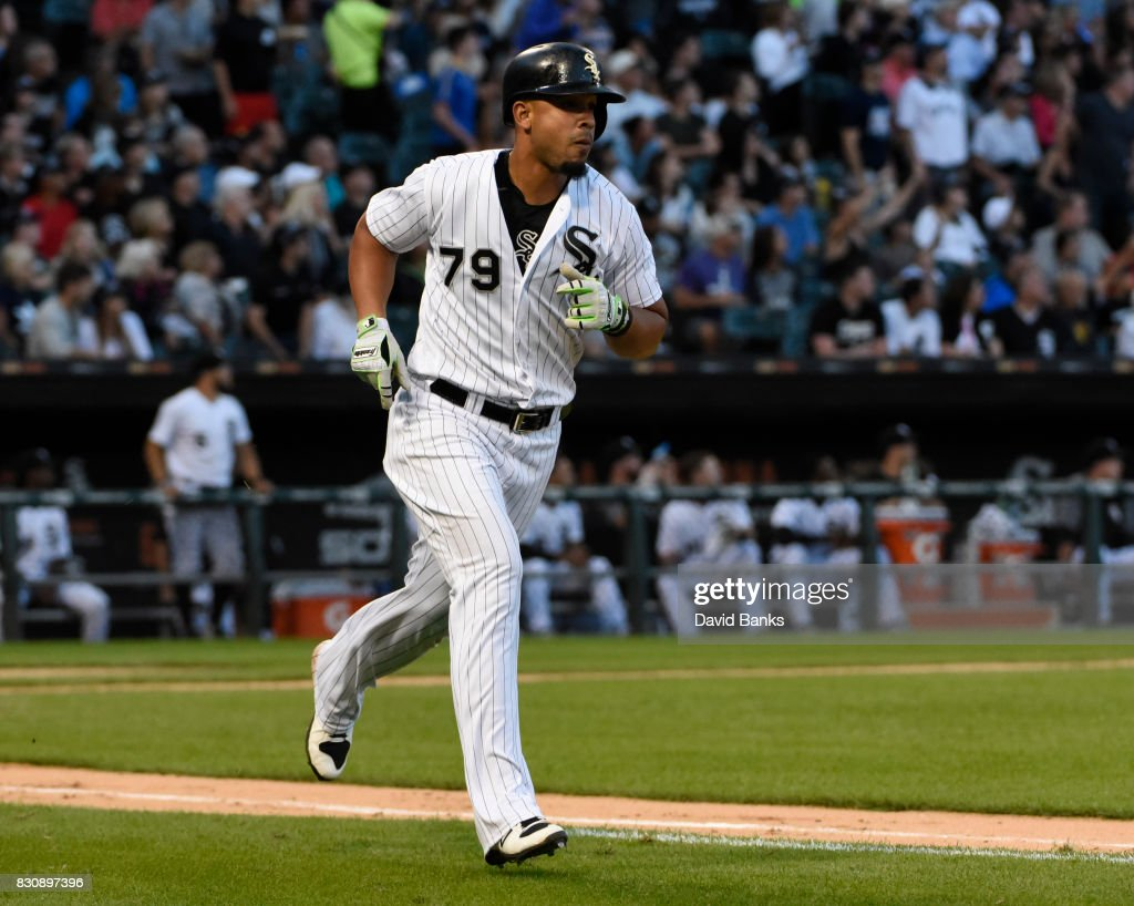 Jose Abreu #79 of the Chicago White Sox runs the bases after hitting a home run against the Kansas City Royals during the fourth inning on August 12, 2017 at Guaranteed Rate Field in Chicago, Illinois.