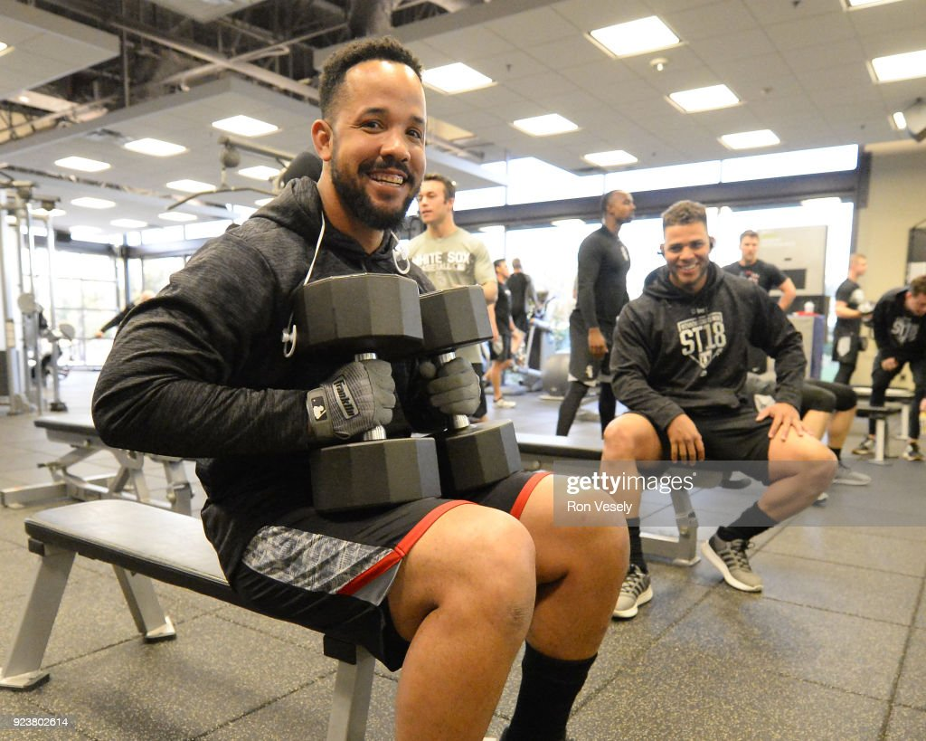 Jose Abreu #79 of the Chicago White Sox works out in the weight room during spring training on February 20, 2018 at Camelback Ranch in Glendale Arizona.