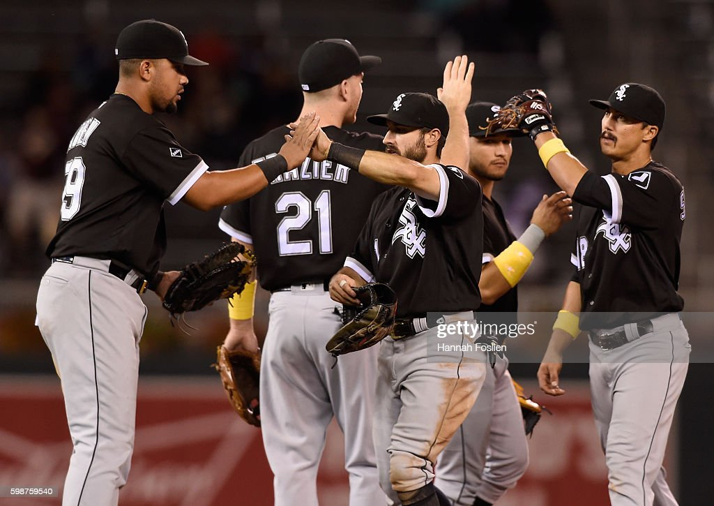 Jose Abreu #79, Todd Frazier #21, Adam Eaton #1, Carlos Sanchez #5 and Tyler Saladino #18 of the Chicago White Sox celebrate winning the game against the Minnesota Twins on September 2, 2016 at Target Field in Minneapolis, Minnesota. The White Sox defeated the Twins 11-4.