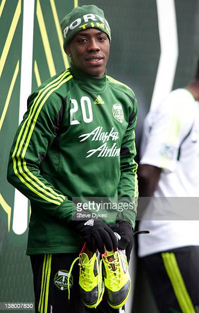 Jose Adolfo Valencia of the Portland Timbers grabs his shoes and heads to the locker room after the opening day of training camp on January 23 2012...