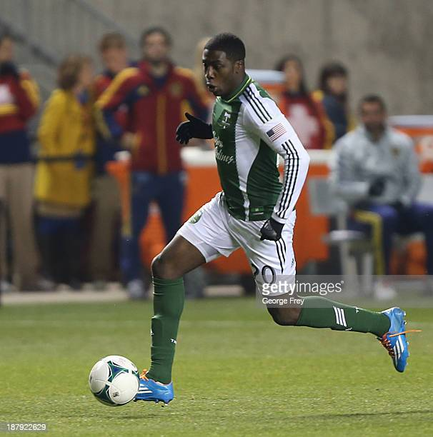 Jose Adolfo Valencia of the Portland Timbers kicks the ball during the second half of the Western Conference Championship Leg 1 against Real Salt...