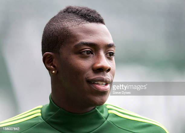 Jose Adolfo Valencia of the Portland Timbers speaks with the media after the opening day of training camp on January 23 2012 in Portland Oregon