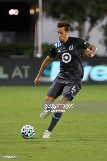 Jose Aja of Minnesota United controls the ball during a quarter final match of MLS Is Back Tournament between San Jose Earthquakes and Minnesota...