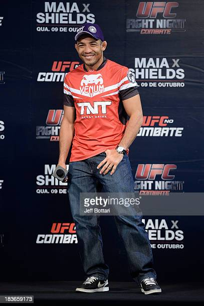 Jose Aldo interacts with fans during a Q&A session before the UFC Fight Night: Maia v Shields weigh-in at the Ginasio Jose Correa on October 8, 2013...