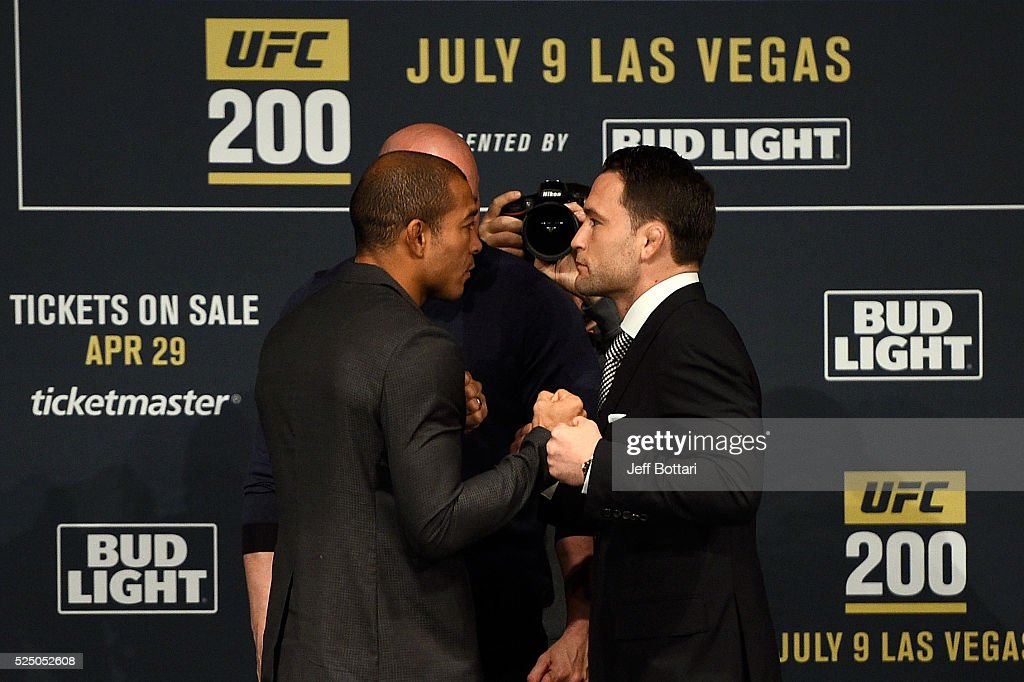 Jose Aldo of Brazil and Frankie Edgar face off for the media and fans during the UFC 200 New York press event at Madison Square Garden on April 27, 2016 in New York City.