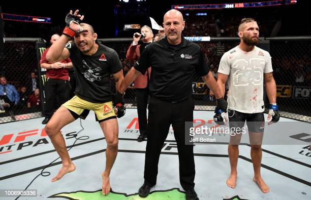 Jose Aldo of Brazil celebrates after his TKO victory over Jeremy Stephens in their featherweight bout during the UFC Fight Night event at Scotiabank...