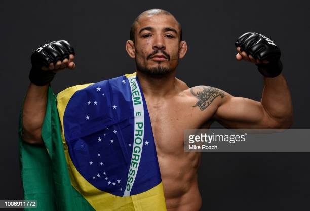 Jose Aldo of Brazil poses for a portrait backstage after his victory over Jeremy Stephens during the UFC Fight Night event at Scotiabank Saddledome...