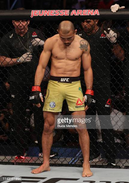 Jose Aldo of Brazil prepares to fight Alexander Volkanovski of Australia in their featherweight bout during the UFC 237 event at Jeunesse Arena on...
