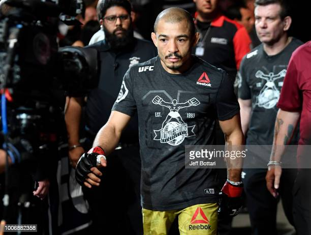 Jose Aldo of Brazil prepares to fight Jeremy Stephens in their featherweight bout during the UFC Fight Night event at Scotiabank Saddledome on July...