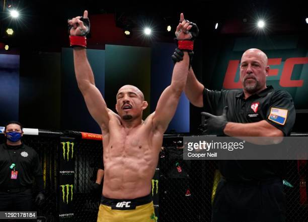 Jose Aldo of Brazil reacts after his victory over Marlon Vera of Ecuador in a bantamweight fight during the UFC Fight Night event at UFC APEX on...