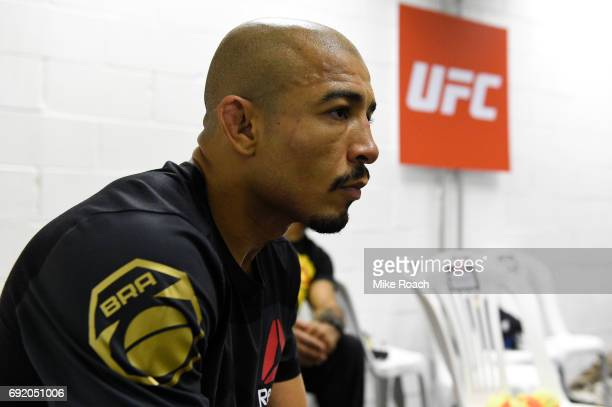 Jose Aldo of Brazil relaxes in his locker room prior to his bout against Max Holloway during the UFC 212 event at Jeunesse Arena on June 3 2017 in...