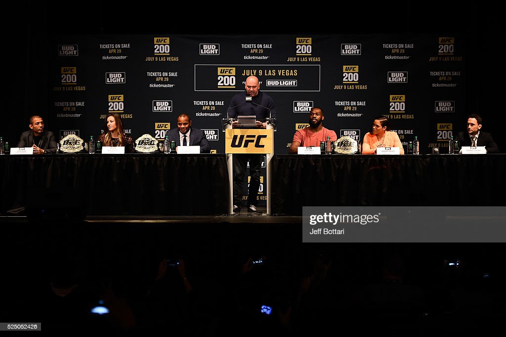 Jose Aldo of Brazil, UFC women's bantamweight champion Miesha Tate, UFC light heavyweight champion Daniel Cormier, UFC President Dana White, interim light heavyweight champion Jon Jones, women's bantamweight challenger Amanda Nunes of Brazil and Frankie Edgar interact with fans and media during the UFC 200 New York press event at Madison Square Garden on April 27, 2016 in New York City.