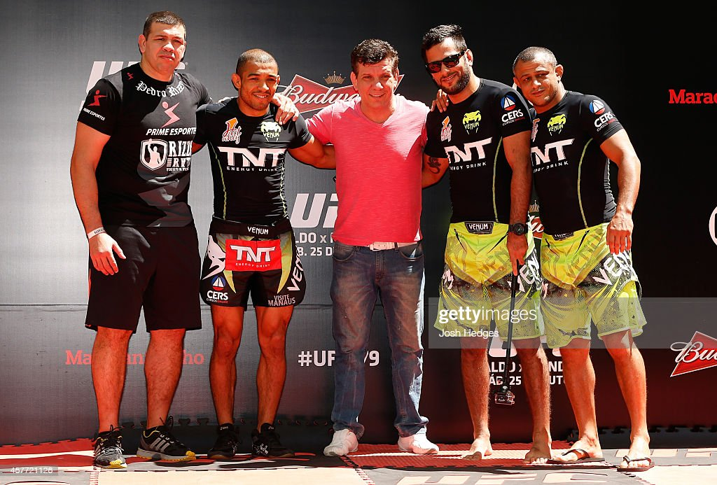 Jose Aldo (second from left) poses with his team after an open training session for media inside Maracanã Stadium on October 23, 2014 in Rio de Janeiro, Brazil.