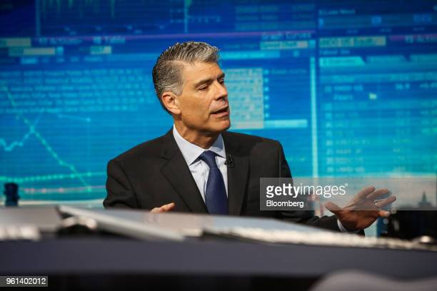Jose Almeida chairman and chief executive officer of Baxter International Inc speaks during a Bloomberg Television interview in New York US on...